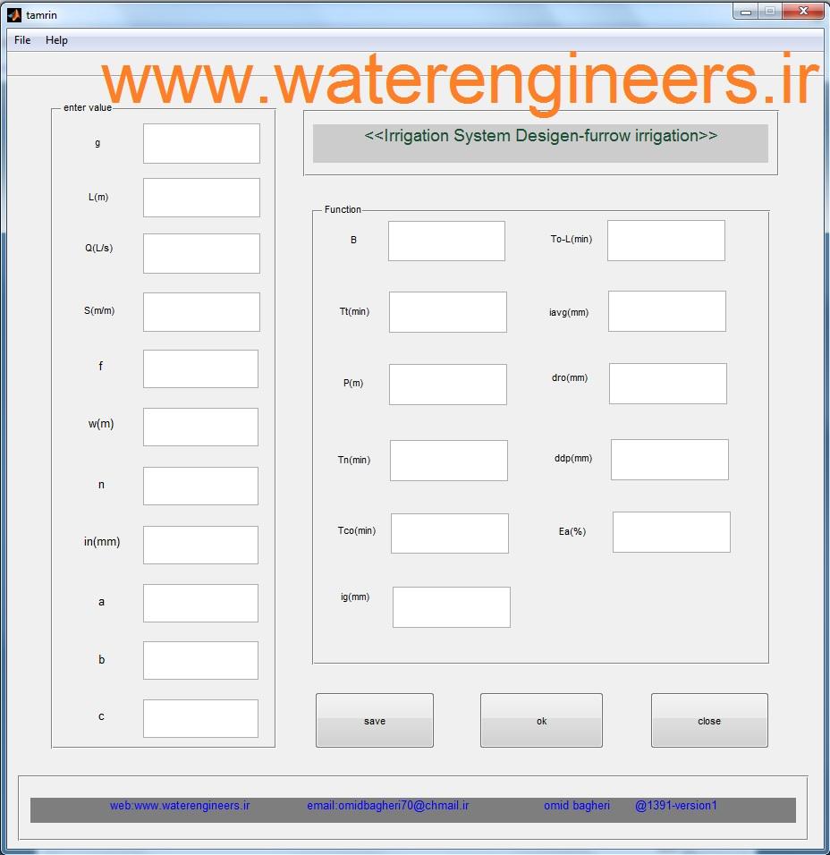 نرم افزار مجاسبه پارامتر های آبیاری جویچه ای  forrow irrigation